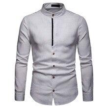 ISHOWTIENDA Мужская рубашка с длинными рукавами, однотонная, на пуговицах, большие размеры, Повседневная блуза, рубашки camisa masculina ropa hombre, повседневная