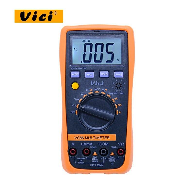 VICI VC86 Auto Range Digital Multimeter with NCV DMM Temperature Meter AC DC voltage current resisatance tester holdpeak hp 770g auto range digital multimeter dmm dc ac voltage current temperature meter tester diode multimetro