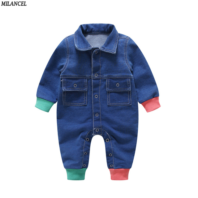 f4c2b4e01d17 MILANCEL 2018 Baby Girls Rompers Denim Boys Jumpsuits Patchwork Baby  Rompers Long Sleeve Baby Girls Clothing Spring Boys Clothes