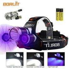 LED פנס UV גבוהה כוח ראש מנורת אור פנס 5000Lm T6 18650 BORUIT RJ 3000 דיג ראש לפיד נטענת פנס