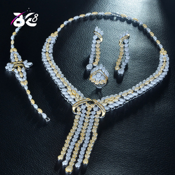 Be 8 Beauty Nigeria 2 Tones CZ Crystal Wedding Bridal Jewelry Sets for Wedding Accessories Jewelry Necklace Bangle Sets S257
