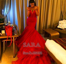 Sexy Red Mermaid Evening Dresses Long Train Robe De Soiree 2015 New prom dresses vestidos de festa
