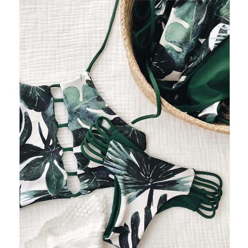 Bikinx Green Leaves Print Bikini Set Push Up Sexy Female Swimsuit 2019 High Neck String Swimwear Women Bathers Summer Beach Wear