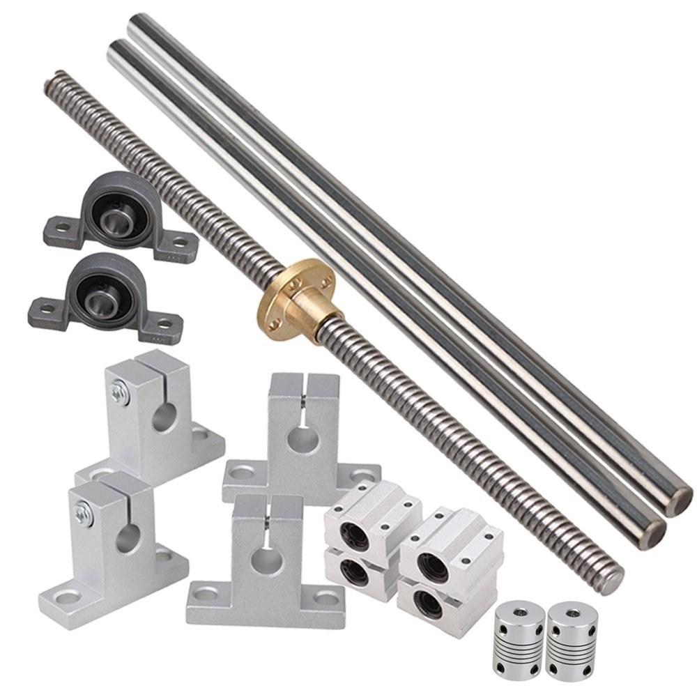 3D printer Guide rail parts T8 Lead 2mm Screw &L400mm Optical Axis&KP08 bearing bracket Block with Dual Rail Shaft Combination 1 piece bu3328 6 6 33 27 5 29 5 mm z25 guide rail u groove plastic roller embedded dual bearing