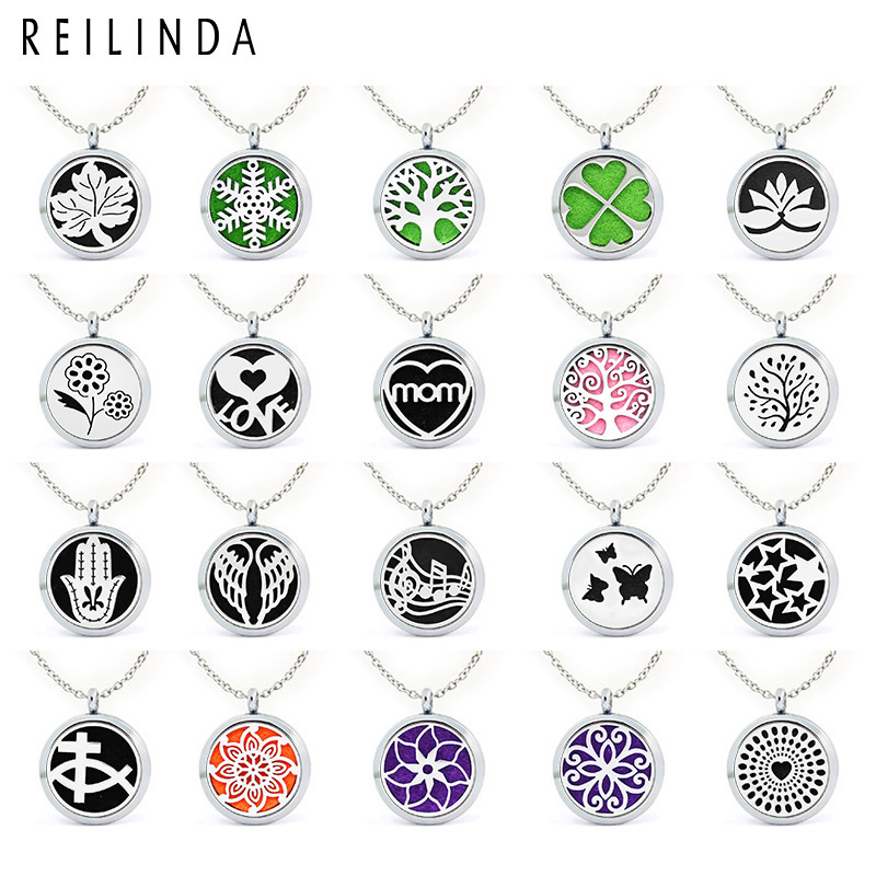 Mix Style Alloy Essential Oil Locket Wholesale 30MM Aroma Diffuser Necklace Jewelry, Accept Customization AJ114-232