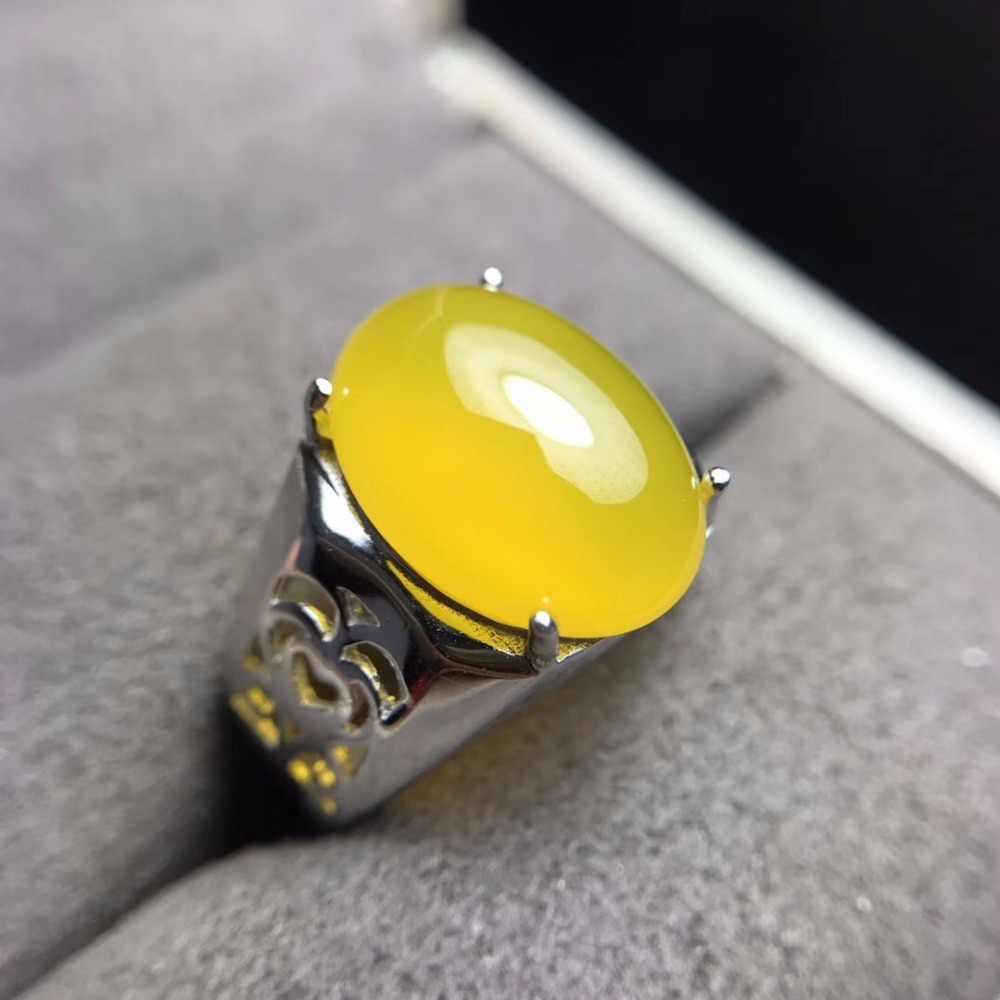 แหวนผู้ชาย, บรรยากาศ, ธรรมชาติ chalcedony, เงิน 925, รู้สึกดีบนมือ