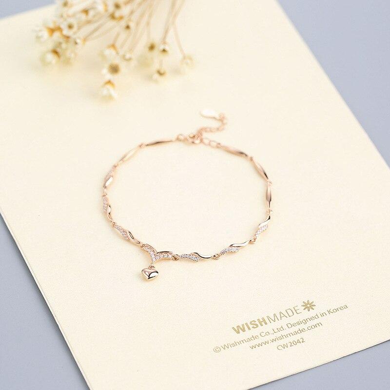 S- New Silver Wholesale S925 Silver bracelet Fashion elegant temperament Heart Jewelry supply