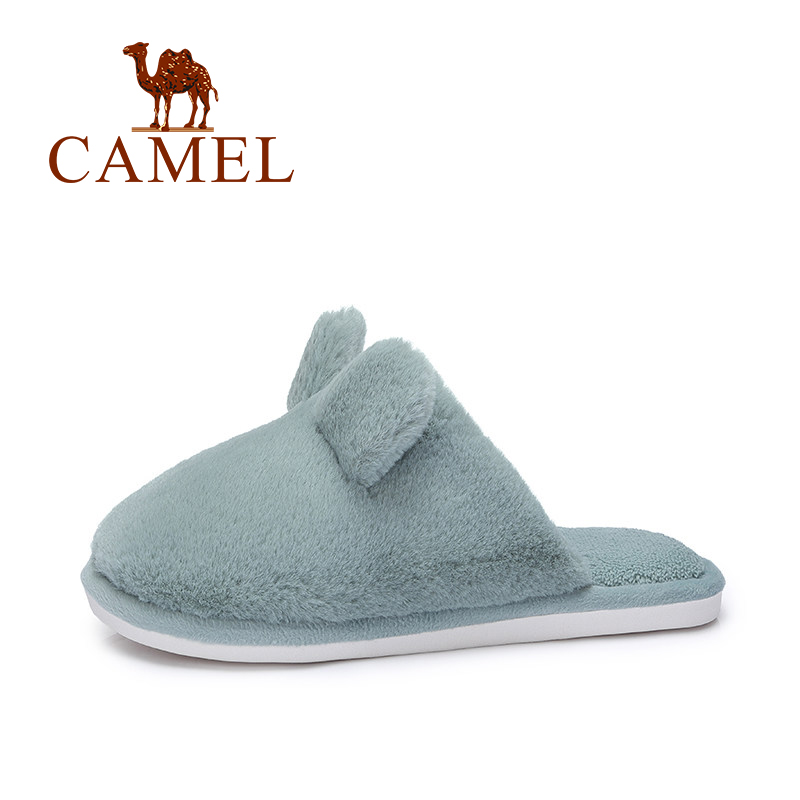 CAMEL Women Winter Casual Home Slippers Women Zapatos Mujer Ladies Soft Cartoon Rabbit Sliders Flip Flop Fluffy Faux Fur Flat цена 2017