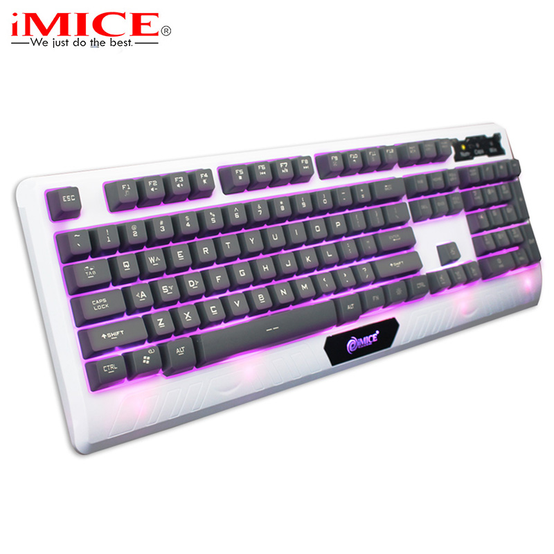 Backlight Gaming Keyboard with Russian Sticker Computer Wired USB High Keycaps LED Backlit Teclado Gamer with Mechanical Feel