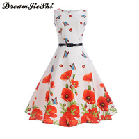 Dreamjieshi Sweet Girl Vintage 50s Style Summer Butterfly Floral Print White Party Dress Cute Female Retro