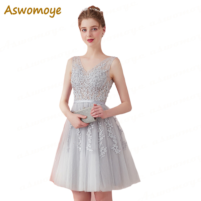 Aliexpress.com   Buy Short Evening Dress 2018 New Appliques Beaded ... 46543640cd93