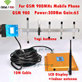 Display LCD Hot 2G GSM 900 MHz 900 mhz Telefone Móvel 1000sq 65db Cell Phone signal Booster Repetidor amplificador com yagi antena