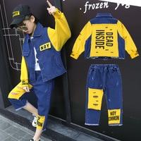 Girls 'spring and autumn streetwear jeans set 2018 new fashion children's cloth sets hip hop girls denim suit kids jean sets