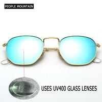 Round Men Hexagonal Flat Lenses Aviation Sunglasses Brand Designer 2018 New Vintage Women Glass Lens Mirror