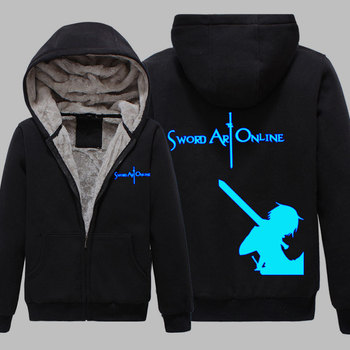 Winter Jackets and Coat Sword Art Online hoodie Anime Kirito Luminous reflect light Thick Zipper Men Sweatshirts