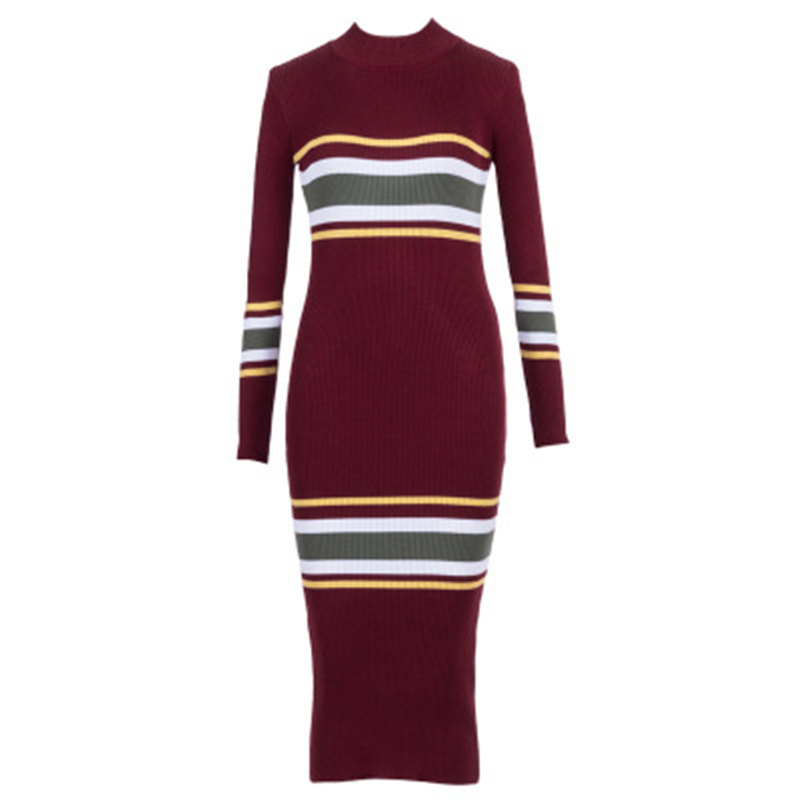 4eb68d42de QAZXSW Winter Dresses Women European Style Women Fall Dresses Burgundy  Knitted Long Sleeve Patchwork Ribbed Dress YC029