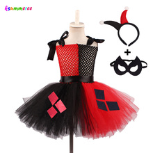 Halloween Harley Quinn Tutu Dress for Girls Birthday Party Handmade Children with Headband & Mask Villain