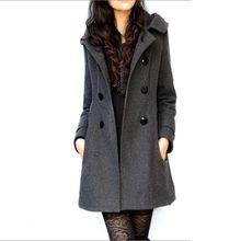 Large size S-4XL women wool coat autumn winter new Double-breasted mediun long jacket Slim hooded female woolen outerwear DT0139(China)