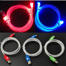 Round tube 1M LED Light Micro USB Cable Luminous Micro USB Data Sync Cord For android Xiaomi huawei samsung Charging cables Wire