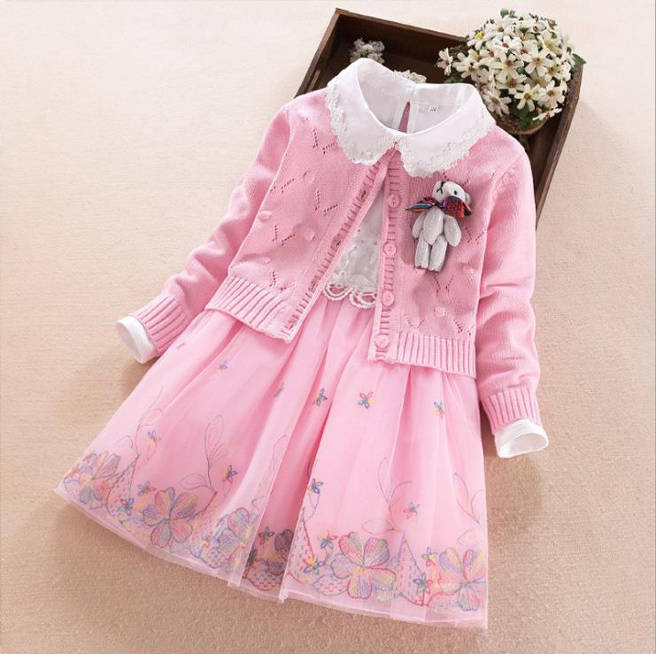 Europe and the United States 2018 autumn The new Parent-child outfit Long sleeve Doll coat + Embroidered gauze dress Girl's suit long sleeve embroidered swing dress