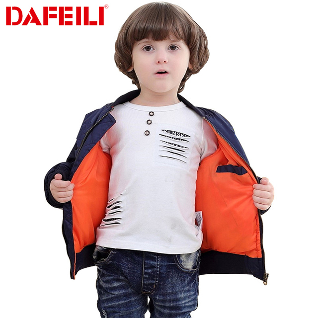 2018 Thick Winter 2-12 years old Kids bomber flight jacket ma-1 pilot air force baby boys padded kids child baseball puffer coat