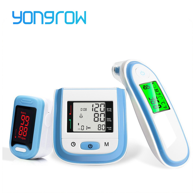3 in 1 Health Care Set / LED Fingertip Pulse Oximeter + LCD Blood Pressure Monitor + Ear Infrared Thermometer