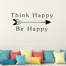 Art Home Decor Think Happy Be Wall Decoration Removeable Stickers Bedroom Poster Quote Thoughts Positive Mural LY04