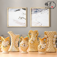 ceramic European small vase gold wedding flowers inserted Home Furnishing living room decoration crafts