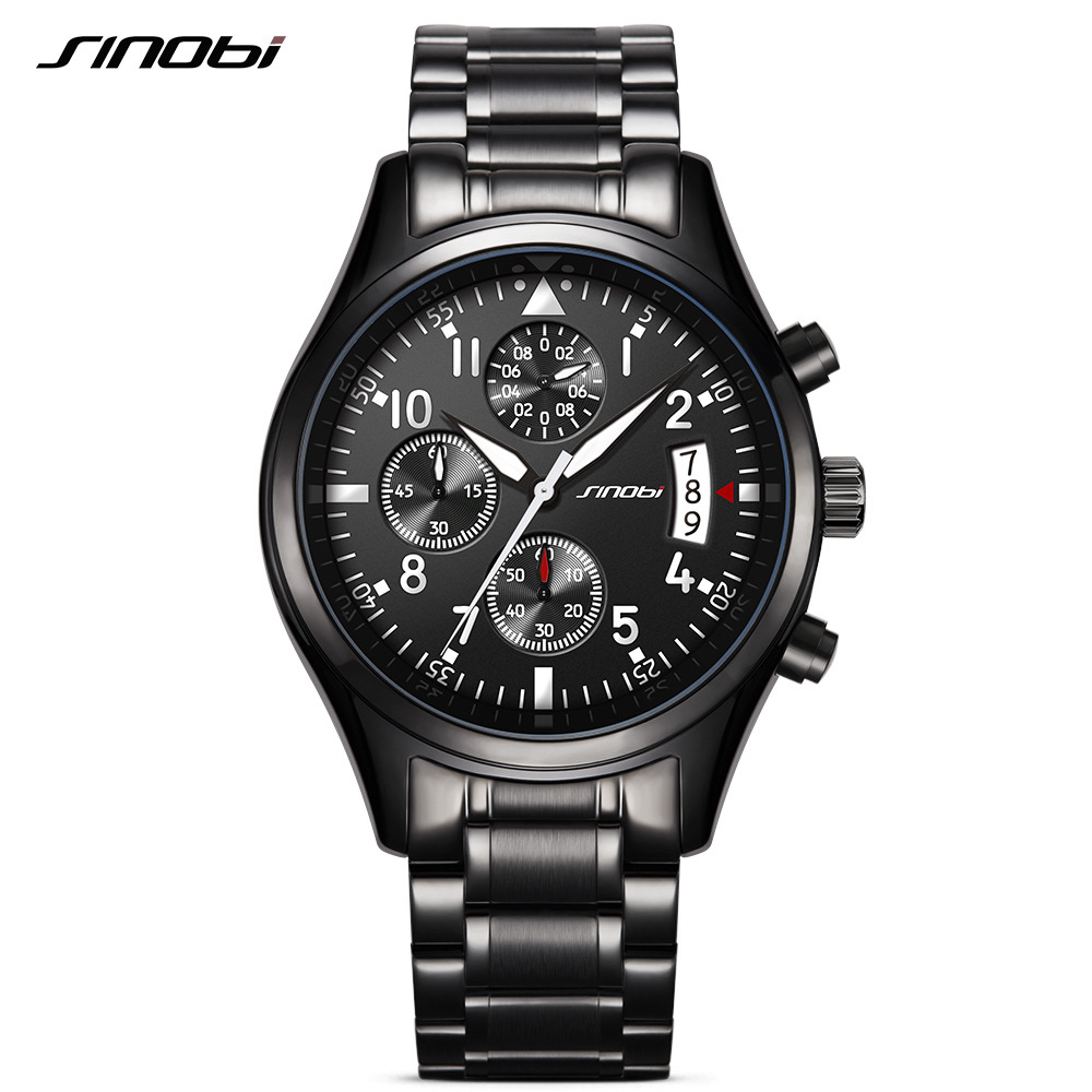 SINOBI 2017 Mens Watches Top Brand Luxury Business Stainless Steel Quartz Watch Male Sport Chronograph Clock Relogio Masculino relogio masculino chronograph mens watches top brand sinobi luxury fashion business quartz watch man sport waterproof wristwatch