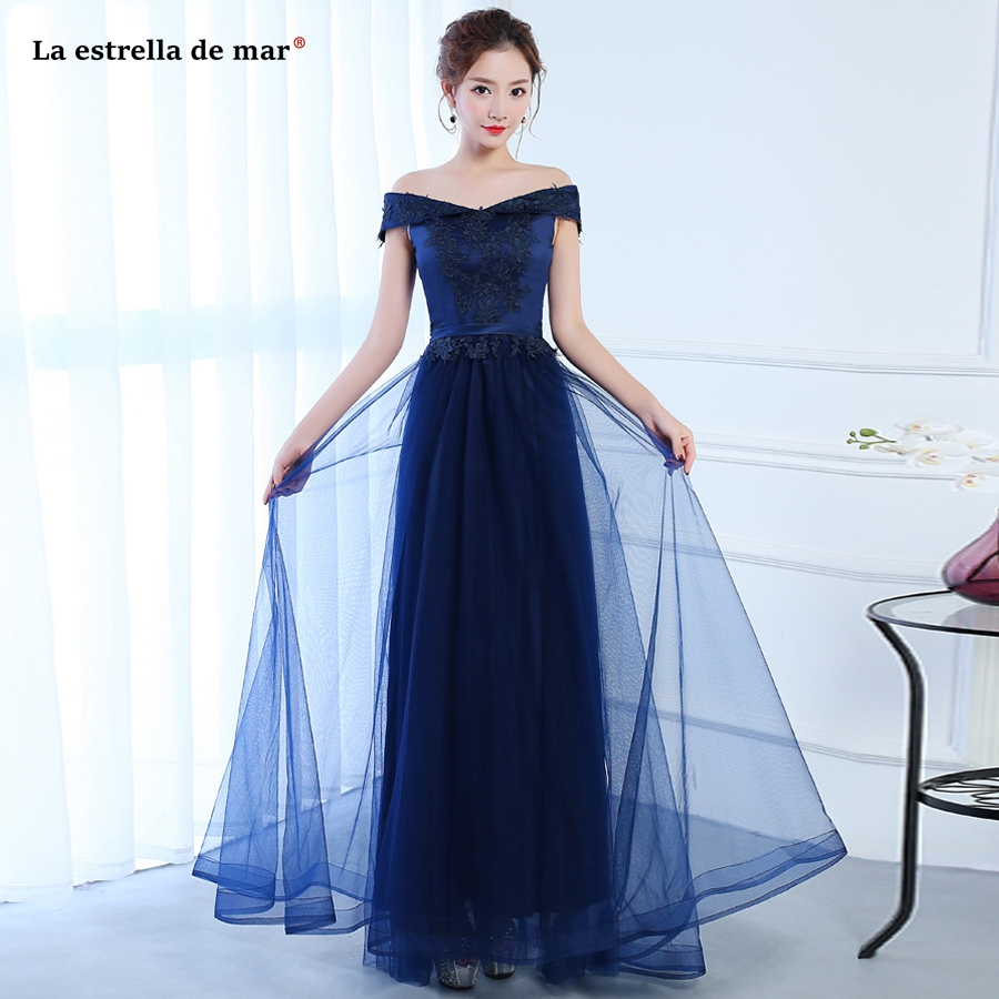 Vestido Dama De Honor Boda New Tulle Applique Boat Neck Short Sleeve A Line Navy Blue Ivory Burgundy Bridesmaid Dresses Long