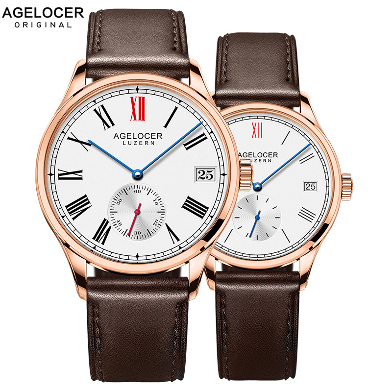 Swiss New Fashion Design Brand Lovers Watch Women Men Leather Band Vintage Automatic Analog Wrist Watch relojes Christmas Gift