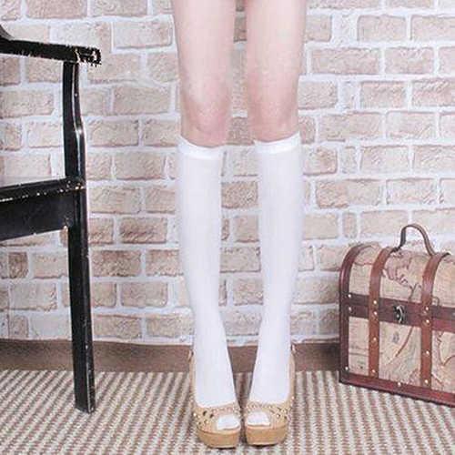 Tayt Kadın Yumuşak Kadife Düz Renk Diz Altı Çorap Yüksek Çizme Tüp Çorap Okul Çorap Külotlu