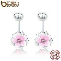 BAMOER Genuine 925 Sterling Silver Magnolia Bloom Pale Cerise Enamel Drop Earrings For Women Brincos Fine