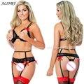 2017 conjunto de lingerie sexy de três pontos biquíni exposto peito underwear nádegas nuas preto tamanho livre lingerie erótica trajes sexy