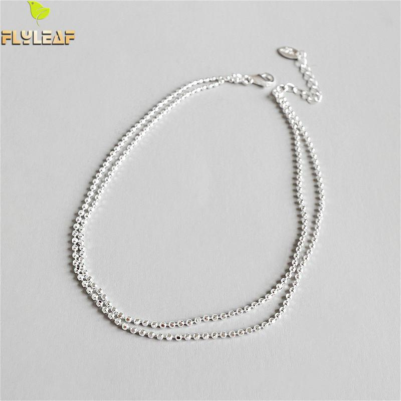 Flyleaf 925 Sterling Silver Beading Double Layer Anklets For Women Girl Ankle Leg Fine Jewelry Simple Enkelbandje Party GiftFlyleaf 925 Sterling Silver Beading Double Layer Anklets For Women Girl Ankle Leg Fine Jewelry Simple Enkelbandje Party Gift