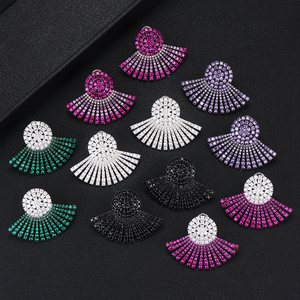Image 1 - GODKI 40MM Famous Luxury Popular Full Ealobe Stud Earring For Women Accessories Full Cubic Zircon Earrings pendientes mujer moda