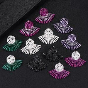 Image 1 - GODKI 40MM Ünlü Lüks Popüler Tam Ealobe düğme küpe Kadın Aksesuarları Için Tam Kübik Zirkon Küpe pendientes mujer moda