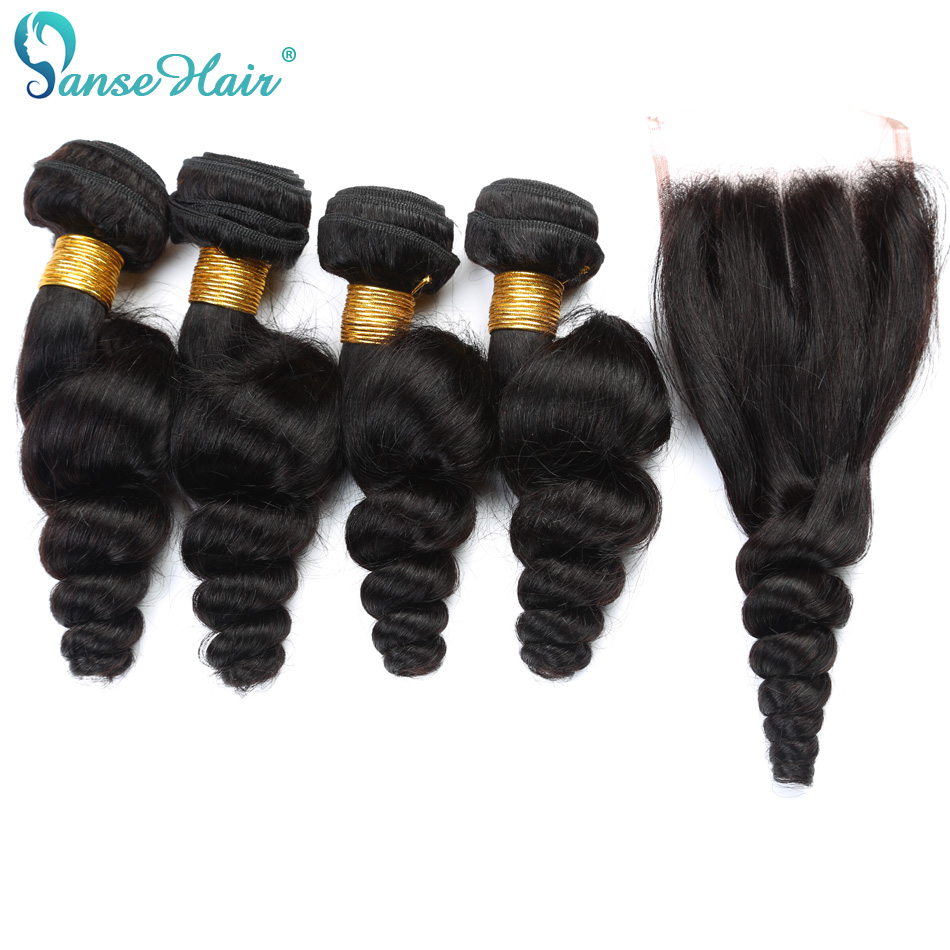 Panse Hair Indian Hair Loose Wave Hair Non Remy 4 Bundles Hair with Closure 4X4 Customized 8 To 28 Inches 100% Human Hair
