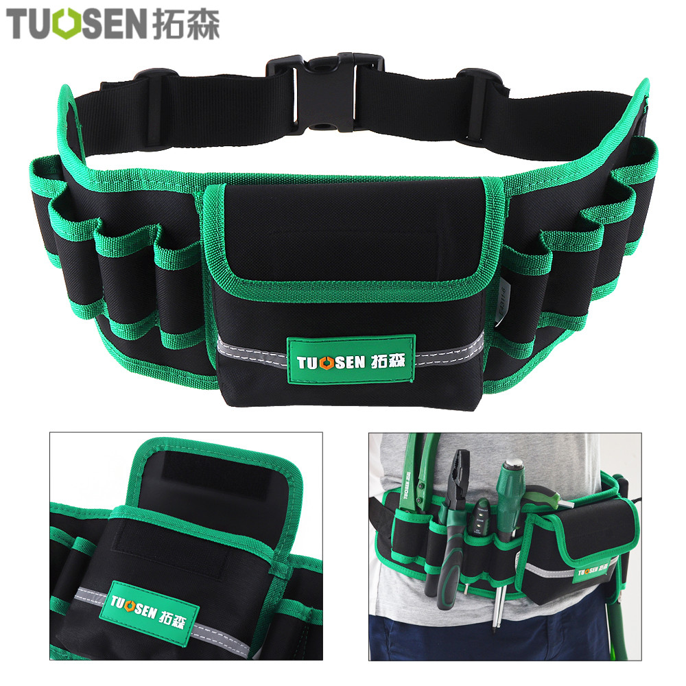 Multifunction Durable Waterproof Canvas Tool Bag Waist Belt Bag Electrician Repair Tool Pouch Organizer with 8 Holes 1 Pocket 1 pcs tool kit pack hardware repair kit tool bag electrician work multifunction durable mechanics oxford cloth bag organizer bag