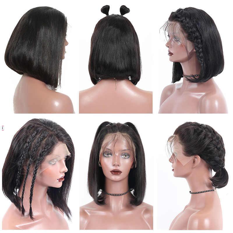 Короткие человеческие волосы парики прямые боб парик для женщин 360 синтетический фронтальный парик предварительно сорвал с Детские волосы натуральный черный вы можете
