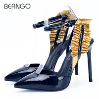 BEANGO Pointed Toe Patent Leather Thin High Heel Women Sandals Shoes Gold Ruffles Patchwork Ankle Strap Party Shoes Female Pumps