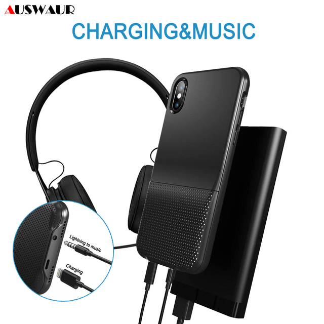 best loved 36615 9b147 US $17.99 |Dual Jack Charge Audio Adapter Case Cover for iPhone X XR XS MAX  Charger Adapter Case Call Music Remote Control-in Mobile Phone Adapters ...