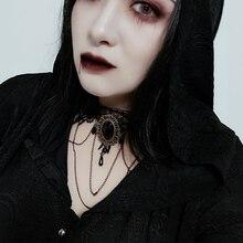 Готический женский кружевной чокер панк темно-Черное короткое ожерелье шеи ремень сексуальные Harajuku чокер