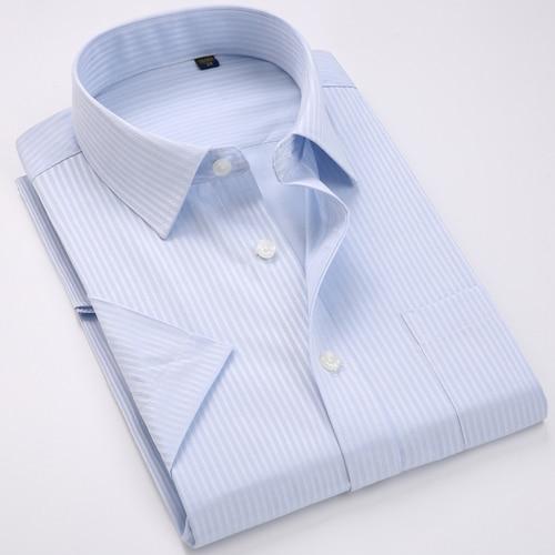 Men's Regular-fit Summer Short Sleeve Solid Classic Shirt Single Patch Pocket Formal Business Work Office Basic Dress Shirts 12