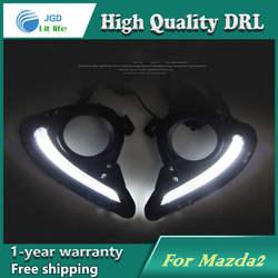 Бесплатная доставка! 12 В 6000 К СИД DRL дневные Бег свет чехол для Mazda 2 Mazda2 рамки противотуманных фар автомобиля стиль