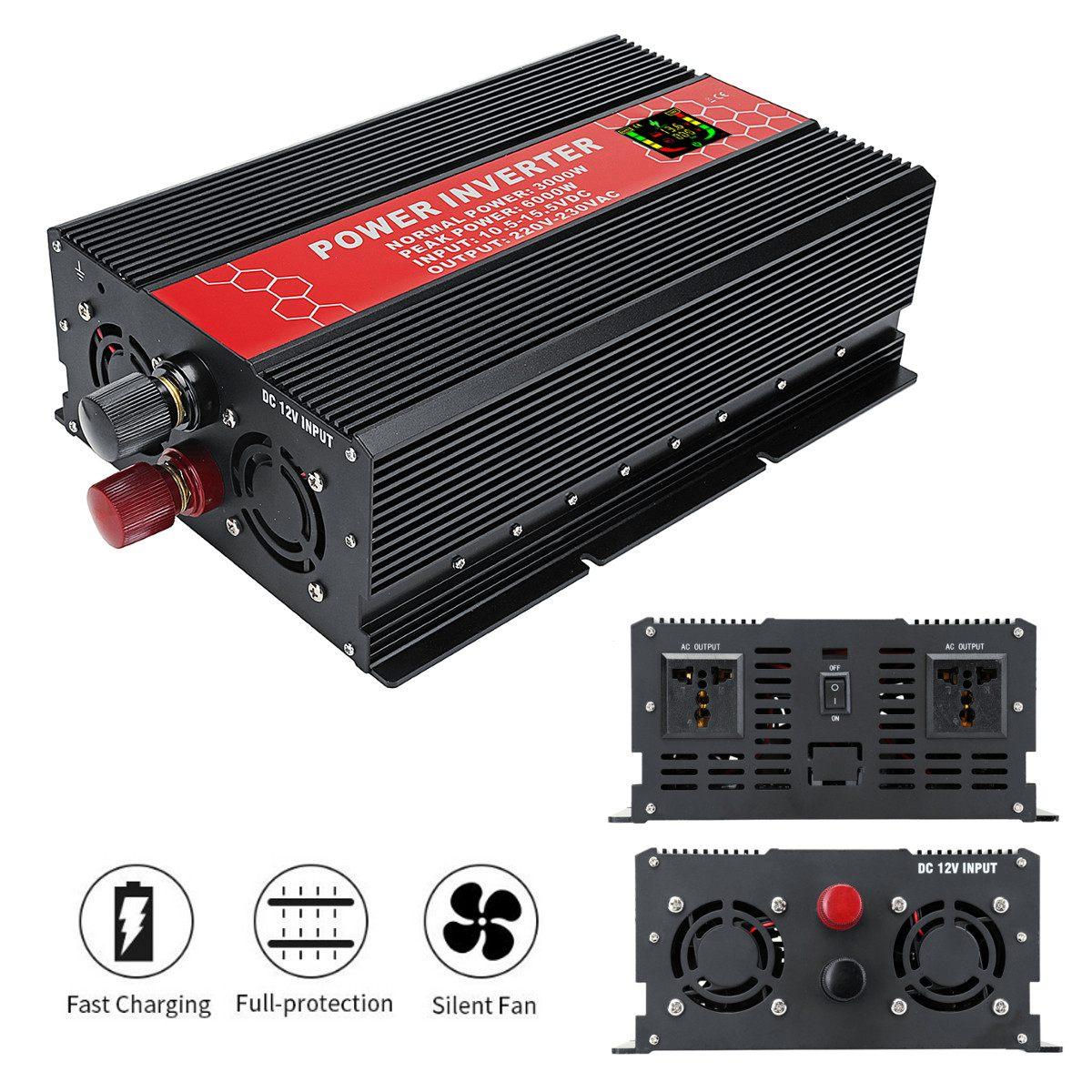 Convertisseur Intelligent d'inverseur d'écran 12/24 V à 110/220 V 3000 W 6000 W convertisseur d'inverseur de transformateur de tension d'onde sinusoïdale modifiée par crête