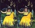 Amarelo E Azul Do Laço Do Vintage Vestidos Da Menina de Flor 2015 de Beleza Da Princesa Crianças Pageant Vestido Para Vestidos de Festa robe de comunhão