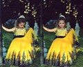 Yellow And Blue Vintage Lace Flower Girl Dresses 2015 Princess Beauty Kids Pageant Dress To Party Gowns robe de communion