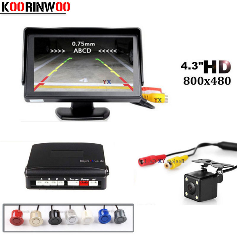 Koorinwoo Car Parking Sensors Kit With HD 4.3 inch TFT LCD Monitor Video System CCD Reverse Camera Backup Parking Assistance    1