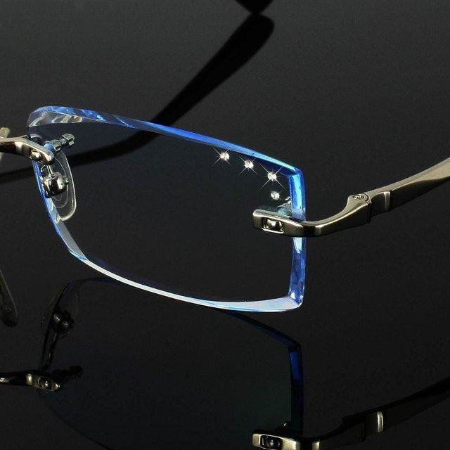 High-end Customized Korean Crystal Diamond Cutting Side Rimless Men Prescription Diopter Eyeglasses Frame Optical Eye Glasses